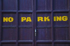 NO PARKING sign on the door, Pondicherry, Tamil Nadu. India Royalty Free Stock Images