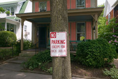 No Parking sign with an exception for Dick Jablin in front of house St. Michaels, Eastern Shore Maryland Royalty Free Stock Photography