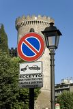 No parking sign in front of Tivoli Castle, or Castle of Rocca Pia, built in 1461 by Pope Pius II, Tivoli, Italy, Europe Royalty Free Stock Photography