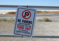 No Parking Sign Great Salt Lake in Utah Stock Images