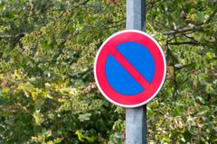 No Parking sign with green background royalty free stock image