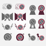 No parking sign icons set Royalty Free Stock Photography