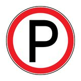 No parking sign. No parking prohibition sign. No parking icon in the red circle isolated on white background. Illustrations of prohibiting warning symbol for vector illustration