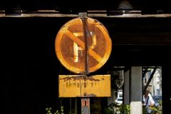 No parking signs are rusty stock image
