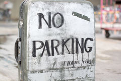 No parking sign on an old suitcase. Royalty Free Stock Photos