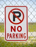 No Parking sign outside park stock image
