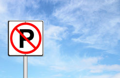 No parking sign over blue sky Stock Photo