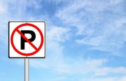 No parking sign over blue sky Stock Photo