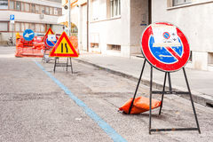 No parking sign post for road works. Stock Photo