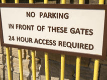 No parking sign. Request for No parking on gate Royalty Free Stock Photo