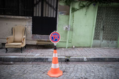 No Parking sign. S in the street,Istanbul Turkey stock image