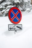 No parking sign in snow Stock Image