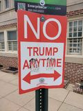 No Parking Sign, No Trump Anytime, Funny Political Street Sign, Philadelphia, PA, USA. A play on the street sign, `No Parking Anytime,` this sign humorously stock photography