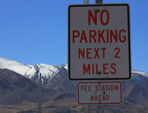No parking sign Utah. In scenic area Royalty Free Stock Photography