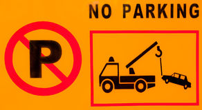 No parking sign. Warning sign plate,red and black line on yellow background Royalty Free Stock Image