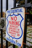 Vintage US Presidential sign seen on a gate in USA. Stock Photos