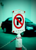 No Parking Sign With Car On Background Royalty Free Stock Photo