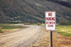 No Parking Between Signs Stock Image