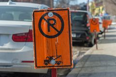 No Parking Signs Next To Parked Cars Royalty Free Stock Photo