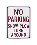 No Parking Snow Plow Sign Royalty Free Stock Photography