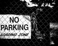 No Parking. Street Black and White located in Memphis, Tennessee Stock Image