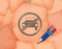 No parking symbol and small pencil with it. Illustration work Stock Image