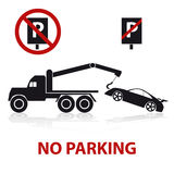 No parking symbols with car and signs Royalty Free Stock Photos