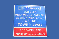 No parking tow away zone Stock Image