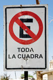 No parking, traffic sign in Chile Stock Image