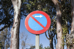 No Parking Traffic Sign pole over trees background Royalty Free Stock Photos