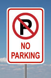 No Parking Traffic Sign with sky. No parking traffic sign with clouds in the background Royalty Free Stock Photos
