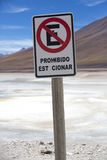 No parking traffic sign at the Volcano Licancabur, Bolivia Stock Photography