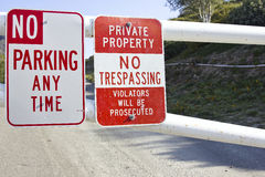 No Parking and Trespassing royalty free stock photos