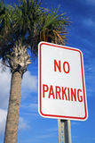 No Parking Under The Palm Stock Photo