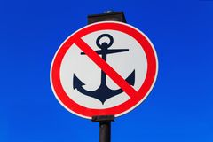 No parking for vessels sign on a blue sky background. Anchor with red diagonal line on a white background Royalty Free Stock Image