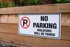 No parking violators will be towed Royalty Free Stock Photo