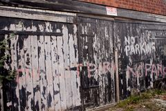 No parking writing on a wooden door uk Royalty Free Stock Image