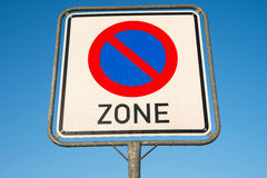 No parking zone. German road sign: no parking zone Stock Photo