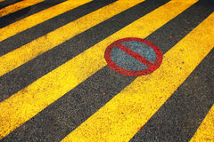 No parking zone. Street no parking zone signs on asphalt floor Royalty Free Stock Photography