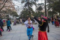 No parque do lago do xuanwu de nanjing na província de jiangsu, há um grupo de pessoas que é afeiçoado da dança de xinjiang, danç Imagens de Stock Royalty Free