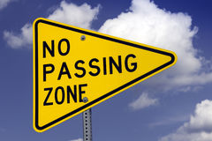 No passing road sign Stock Photos