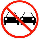 No passing sign. Illustration of no passing road sign with two cars Stock Photos
