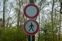 No passing sign stock photography