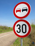 No-passing and the speed limit. Traffic sing Stock Photography