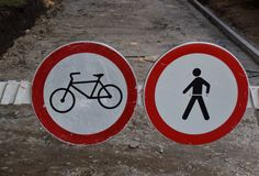NO pedestrian and bicycle signs Stock Photo