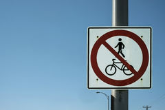 No pedestrian & bycicle road sign Stock Photography