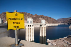 No pedestrian after dark at Hoover Dam Royalty Free Stock Photos