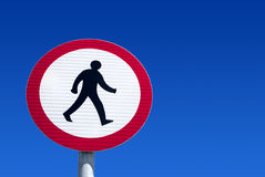 No pedestrians road sign. British no pedestrians road sign Royalty Free Stock Images
