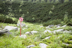No pedestrians sign in nature park Royalty Free Stock Images