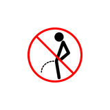 No peeing line icon, pee prohibition sign,. Forbidden dont pissing, vector graphics, a linear pattern red on a white background, eps 10 Stock Photos